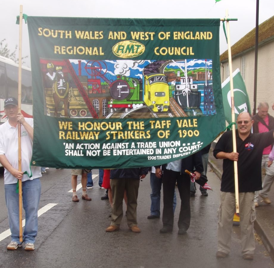 RMT banner commemorating the Taff Vale rqilway strike