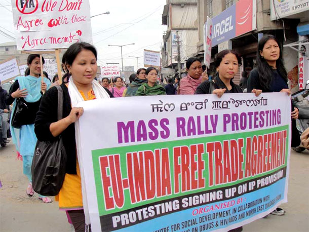 Indian workers protest against EU/India Free Trade Agreement