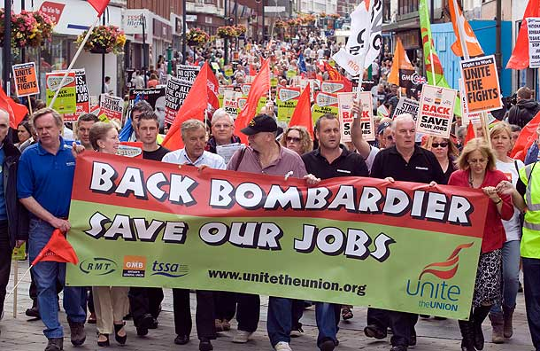 Demonstration in Deby to campaign for awarding Thameslink contract to Bombardier