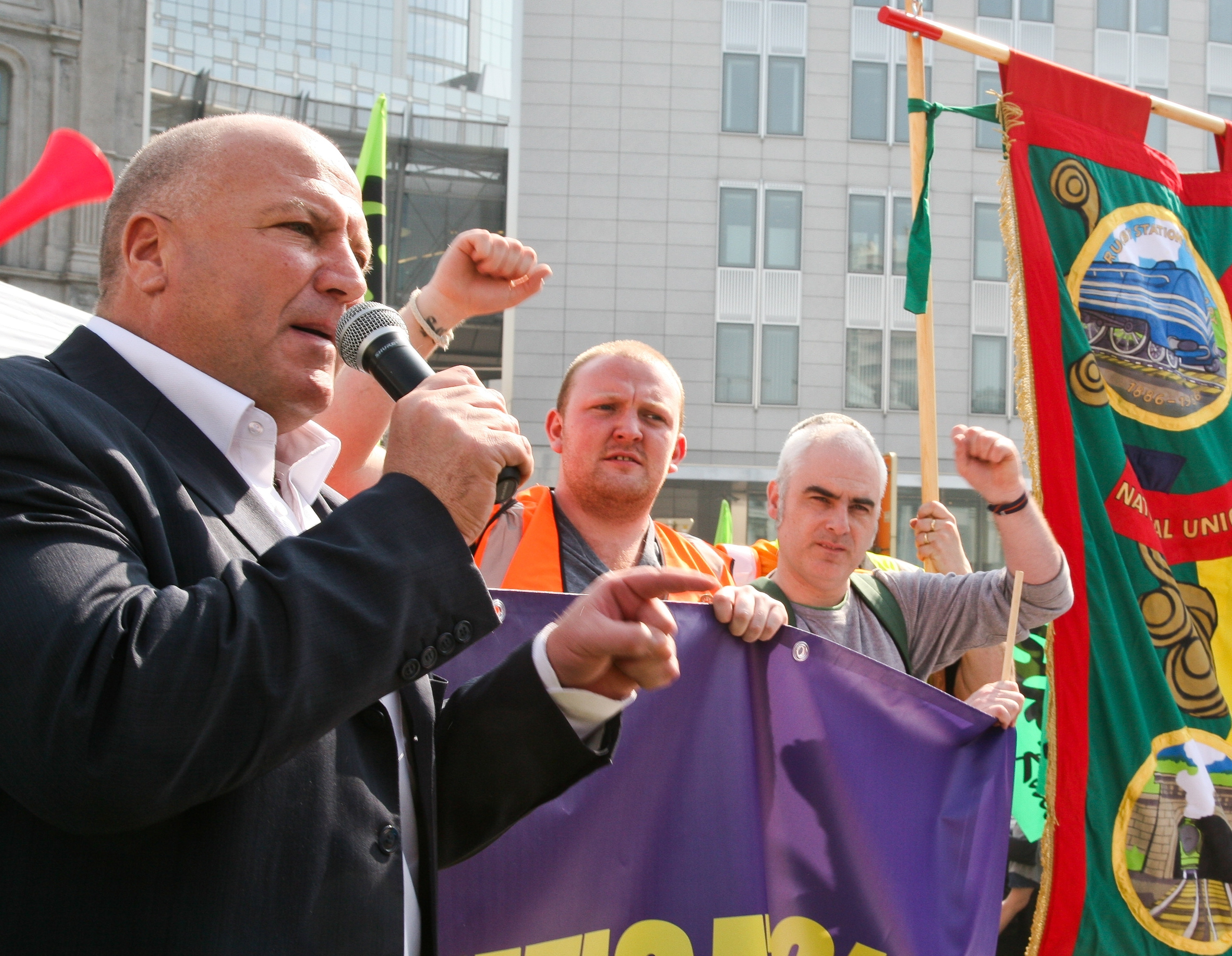 Demonstration in Brussels by transport workers' unions